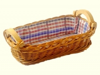 Brotkörberl mit Stoff und Holzgriff