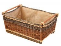 Weidenkorb mit Holzleiste und Jute